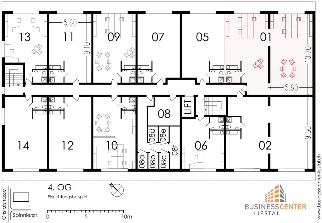 Grundriss Plan Büro und Atelier zu mieten in Liestal an der Spinnlerstrasse 2